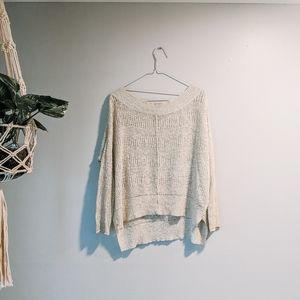 Free People Cream High Low Sweater
